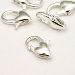 12mm Lobster Clasp - Silver Plated Heart Shape (New Pack Sizes)