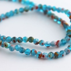 4mm Millefiori Round Beads - Aqua Blue