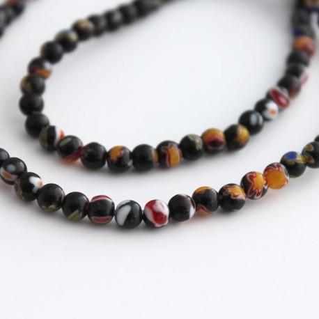 4mm Millefiori Round Beads - Black