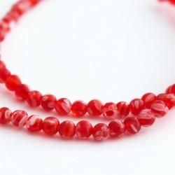 4mm Millefiori Round Beads - Red