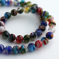 Millefiori 8mm Round Multi-Coloured Beads