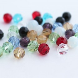 6mm Faceted Round Crystal Glass Beads - Mixed Colours