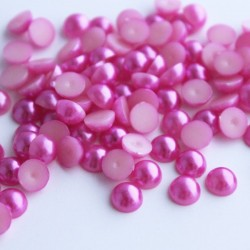 6mm Faux Pearl Acrylic Cabochons - Magenta