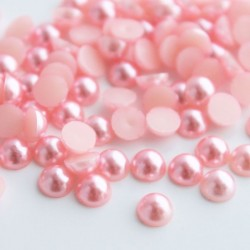 6mm Faux Pearl Acrylic Cabochons - Pink