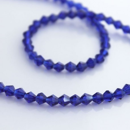 4mm Crystal Glass Bicone Beads - Cobalt Blue