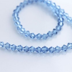 4mm Crystal Glass Bicone Beads - Light Blue