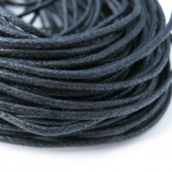 2mm Black Waxed Cotton Cord