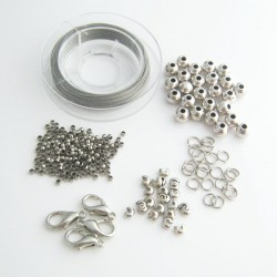 Silver Tone Necklace/Bracelet Findings Kit