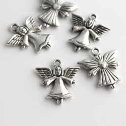 22mm Angel Charm - Antique Silver Tone - Pack of 5