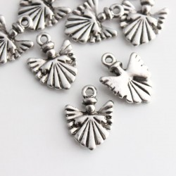 17mm Angel Charm - Antique Silver Tone - Pack of 10