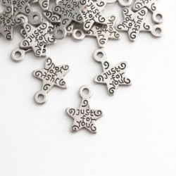 """14mm """"Just for You"""" Star Charm - Antique Silver Tone - Pack of 15"""