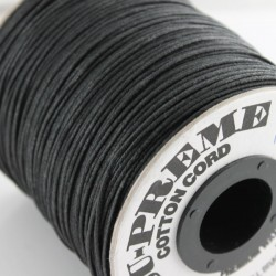 1mm Premium Waxed Cotton Cord - Black - 1 metre