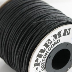 2mm Premium Waxed Cotton Cord - Black - per metre