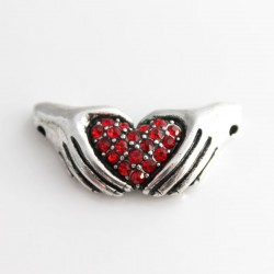 Red Rhinestone Heart in Hands Connector