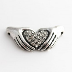 Heart in Hands Connector - Clear Rhinestone