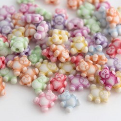 Acrylic Teddy Bear Shaped Beads - Mixed Colour Pack