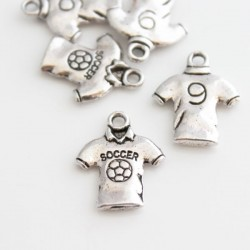 18mm Soccer Jersey Charm - Antique Silver Tone - Pack of 5