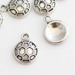 19mm Football Charms - Antique Silver Tone - Pack of 10