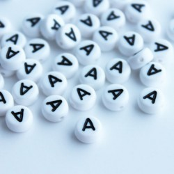 "7mm Acrylic Alphabet Beads - Letter ""A"""