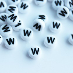 "7mm Acrylic Alphabet Beads - Letter ""W"""