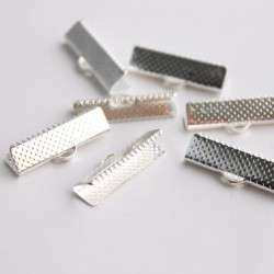 22mm Ribbon Ends - Silver Plated - Pack of 10