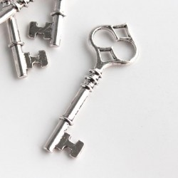 60mm Key Charm - Antique Silver Tone - Pack of 2