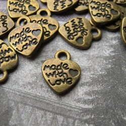 """12mm """"made with love"""" Heart Charm - Bronze Tone - Pack of 10"""