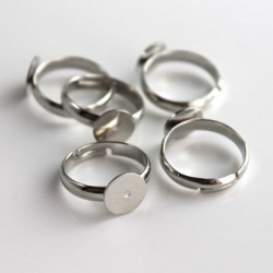 Silver Tone Adjustable Ring Blanks - 14mm