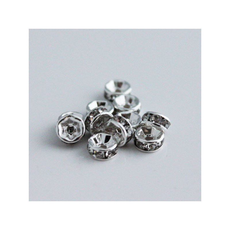 6mm Silver Plated Rhinestone Rondelle Spacer Beads