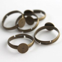 Bronze Tone Adjustable Ring Blanks - 17mm