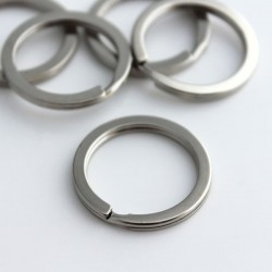 25mm Flat Split Ring - Silver Tone