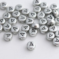"7mm Silver Acrylic Alphabet Beads - Letter ""A"""