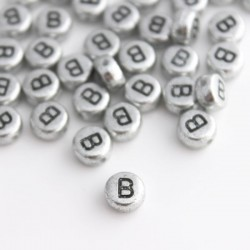 "7mm Silver Acrylic Alphabet Beads - Letter ""B"""