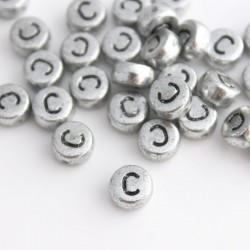 "7mm Silver Acrylic Alphabet Beads - Letter ""C"""