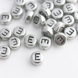 "7mm Silver Acrylic Alphabet Beads - Letter ""E"""