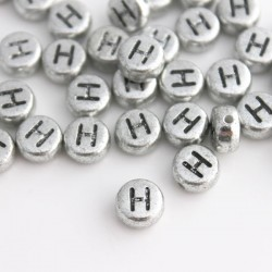 "7mm Silver Acrylic Alphabet Beads - Letter ""H"""