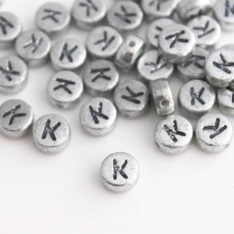 "7mm Silver Acrylic Alphabet Beads - Letter ""K"""