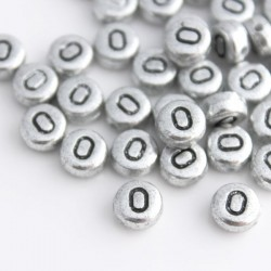 "7mm Silver Acrylic Alphabet Beads - Letter ""O"""