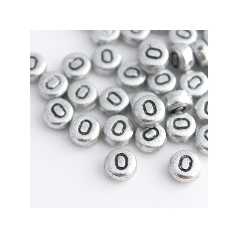 Silver Alphabet Beads: 7mm Silver Acrylic Alphabet Beads