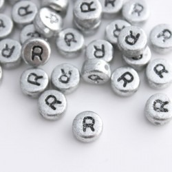 "7mm Silver Acrylic Alphabet Beads - Letter ""R"""