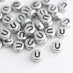 "7mm Silver Acrylic Alphabet Beads - Letter ""U"""