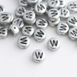 "7mm Silver Acrylic Alphabet Beads - Letter ""W"""
