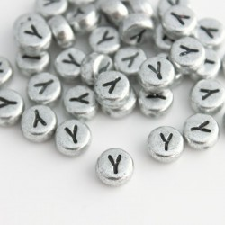 "7mm Silver Acrylic Alphabet Beads - Letter ""Y"""
