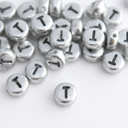 "7mm Silver Acrylic Alphabet Beads - Letter ""T"""