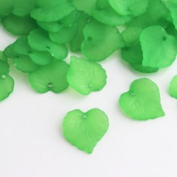 16mm Frosted Acrylic Leaves - Green