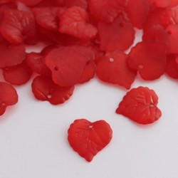 16mm Frosted Acrylic Leaves - Red