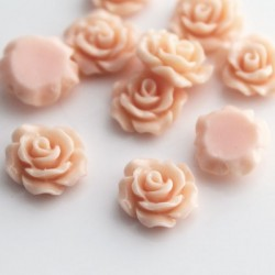 10mm Flower Cabochons - Light Coral Pink