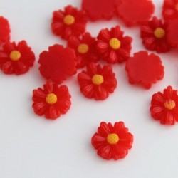 9mm Flower Cabochons - Red