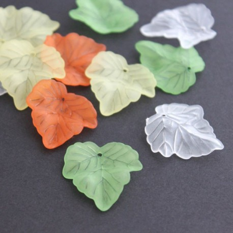 24mm Frosted Acrylic Leaves - Mixed Colours