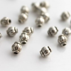 4mm Barrel Spacer Bead - Antique Silver Tone